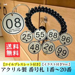 【送料無料】アクリル製 番号札 1〜20番コイルブレスレット イラスト付き (店舗用品)