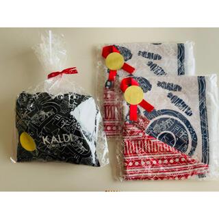 カルディ(KALDI)のKALDI&もへじ手拭いエコバッグ 3点セット(エコバッグ)