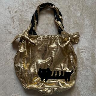 ツモリチサト(TSUMORI CHISATO)のツモリチサト ゴールド生地 猫 トートバッグ(エコバッグ)