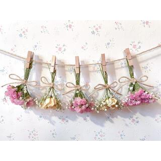 パステルサーモンピンクのバラとかすみ草のドライフラワーガーランド♡スワッグ♡(ドライフラワー)