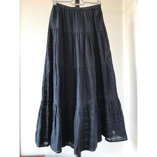 ジーユー(GU)の【GU】ティアードマキシスカート S ネイビー(ロングスカート)