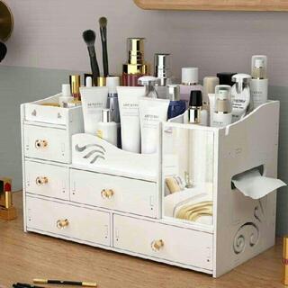 コスメボックス 化粧品収納ボックス 化粧鏡付きメイクボックス 大容量 卓上収(ドレッサー/鏡台)