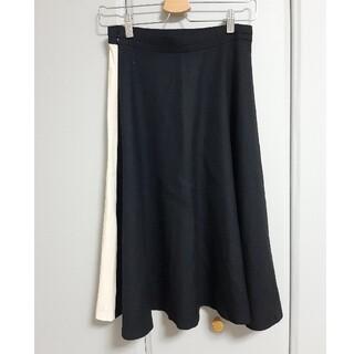 イッツインターナショナル(I.T.'S.international)の白×黒 バイカラー フレアスカート(ひざ丈スカート)