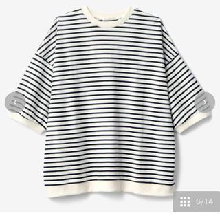 シマムラ(しまむら)のterawear emu ボーダーTシャツ  中青 M(Tシャツ(半袖/袖なし))