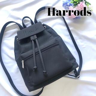 ハロッズ(Harrods)のハロッズ harrods リュック 黒 ブラック 小さめ ロゴ(リュック/バックパック)