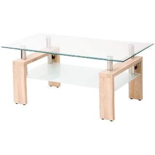 北欧風 ガラステーブル アジャスター付き 強化ガラストップ ナチュラル 豪華収納(ローテーブル)