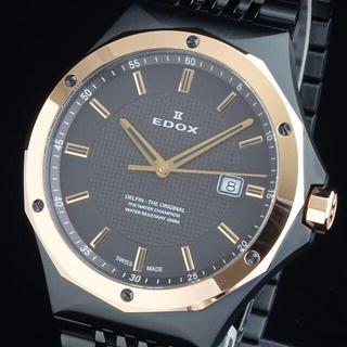 エドックス(EDOX)の【新品・正規品】エドックス EDOX 高級 メンズ腕時計 43㎜ ブラック 防水(腕時計(アナログ))