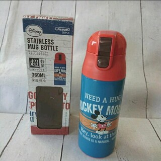 ミッキーマウス(ミッキーマウス)の★新品★ロック付ワンプッシュステンレスマグボトル ミッキーマウス ブルー(弁当用品)