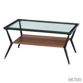 ガラスリビングテーブル クレア 幅80cm ダークブラウン(ローテーブル)