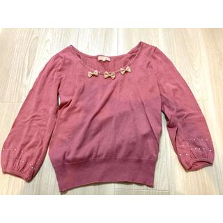 プーラフリーム(pour la frime)のピンクニット 薄手 七分袖 バルーン袖(ニット/セーター)