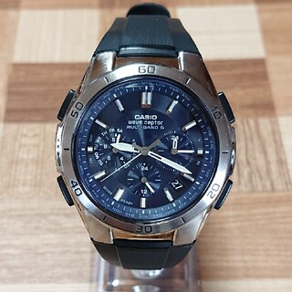 カシオ(CASIO)の美品【CASIO/WAVECEPTOR】電波ソーラー クロノグラフ メンズ腕時計(腕時計(アナログ))