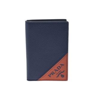 プラダ(PRADA)のプラダ  パスケース 定期入れ アウトレット カードケース 紺/オレンジ(名刺入れ/定期入れ)