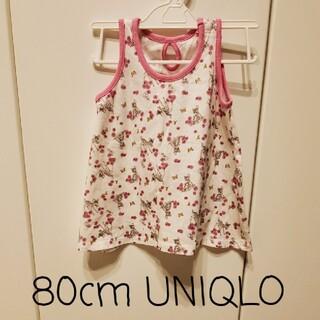 ユニクロ(UNIQLO)の【UNIQLO】80cm*ノースリーブ タンクトップ バンビ柄(タンクトップ/キャミソール)
