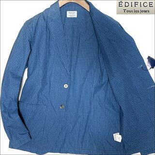 エディフィス(EDIFICE)のJ3026 新品 エディフィス ギンガムチェック アンコンジャケット ブルー48(テーラードジャケット)