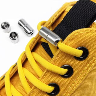 シルバー金具 3ペア 結ばない靴紐 伸びる靴紐 品質保証 配送保証(シューズ)