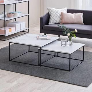 フランフラン(Francfranc)の【LOWYA】コンパクト大理石柄ネストテーブル(ローテーブル)