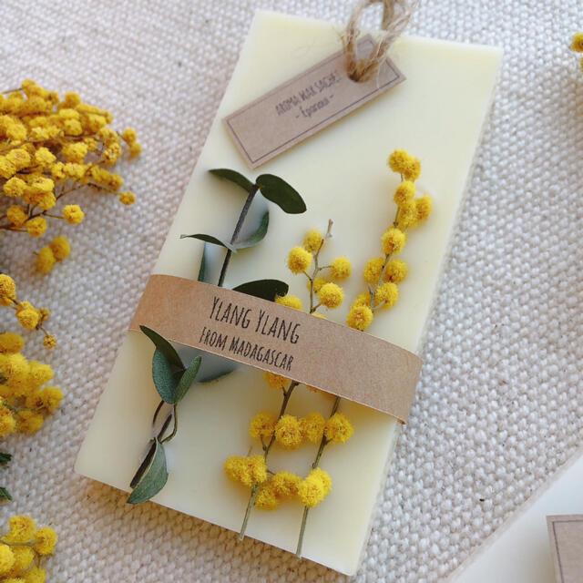 香りが選べるアロマワックスサシェ*ユーカリ×ミモザ ハンドメイドのインテリア/家具(アロマ/キャンドル)の商品写真