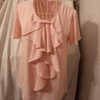 試着のみ MALIANI ピンクのリボンブラウスチュニック 11号(シャツ/ブラウス(半袖/袖なし))