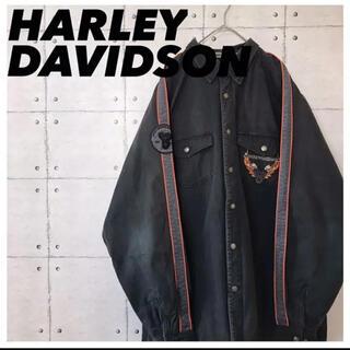 ハーレーダビッドソン(Harley Davidson)のハーレーダビットソン•Gジャン•デニムジャケット•厚手シャツ•刺繍ロゴ•デカロゴ(シャツ)