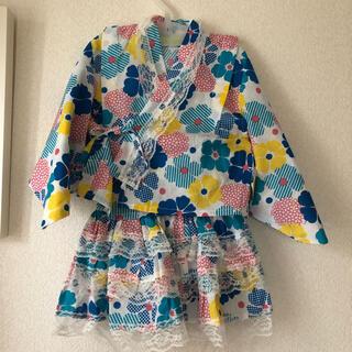 シマムラ(しまむら)の新品未使用 タグ付き 浴衣 3点セット 95cm 女の子 バースデイ ブルー(甚平/浴衣)