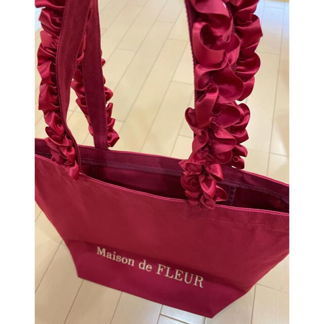 Maison de FLEUR(メゾンドフルール)の帆布フリルハンドルトートMバッグRouge レディースのバッグ(トートバッグ)の商品写真