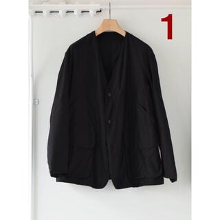 コモリ(COMOLI)のCOMOLI コットンサテン ハンティングジャケット 1 ブラック(ノーカラージャケット)
