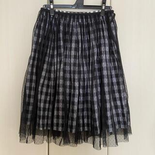 シロップ(syrup.)のシロップ チェック×チュール それぞれでも楽しめるスカートセット(ひざ丈スカート)