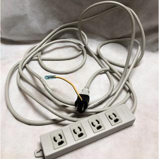 室内配線ケーブル4口コンセント(5m)3P→2Pコンセントプラグ変換アダプタ付