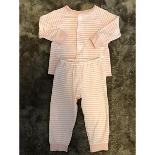 ムジルシリョウヒン(MUJI (無印良品))の無印良品 MUJI お着替えパジャマ ピンクボーダー 90〜100(パジャマ)