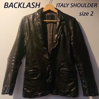 イサムカタヤマバックラッシュ(ISAMUKATAYAMA BACKLASH)のBACKLASH イタリーショルダー テーラードジャケット ブラック 2(レザージャケット)