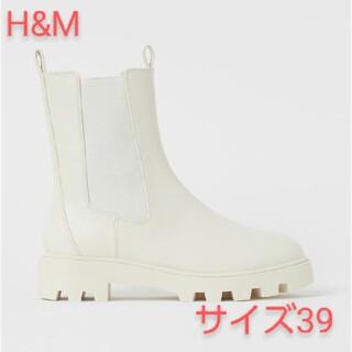 H&M - H&M ハイシャフト チェルシーブーツ ホワイト サイズ 39