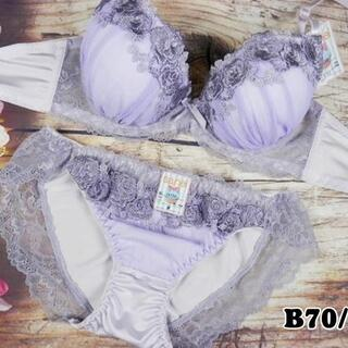 022★B70 M★美胸ブラ ショーツ 谷間メイク 高級 ローズ刺繍 紫(ブラ&ショーツセット)