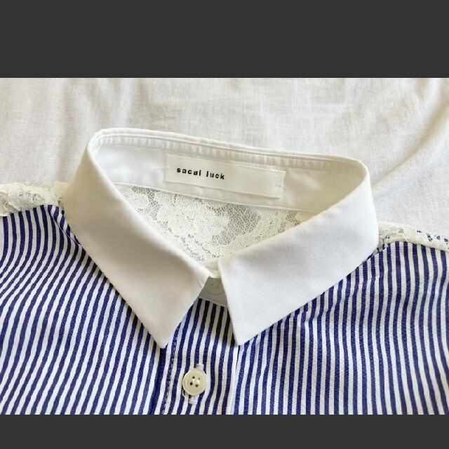 sacai luck(サカイラック)のsacai luck サカイラック異素材切替レース ストライプブラウスシャツ レディースのトップス(シャツ/ブラウス(長袖/七分))の商品写真