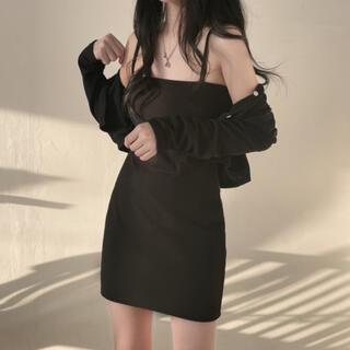 スタイルナンダ(STYLENANDA)の【予約商品】《3カラー》カーディガン ワンピース セット 韓国ファッション 春服(セット/コーデ)