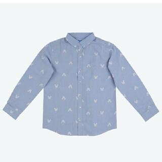 ディズニー(Disney)の東京ディズニーリゾート限定品 シャツ ユニセックス ミッキー ブルー ロゴ(シャツ/ブラウス(長袖/七分))