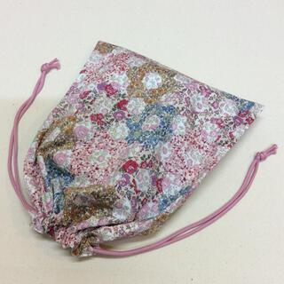 リバティ 巾着袋  ガーデンパッチワーク C&S特別柄  大人巾着 ピンク系(バッグ/レッスンバッグ)