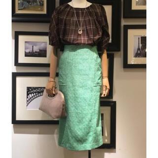 マルティニークルコント(martinique Le Conte)のマルティニーク サマーツイードタイトスカート グリーン(ひざ丈スカート)