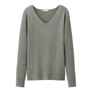 ジーユー(GU)のGU ワイドリブVネックセーター(ニット/セーター)