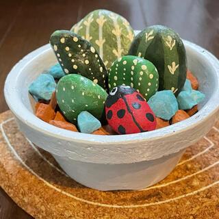 中古リメイク鉢とストーンペイントのサボテン(インテリア雑貨)
