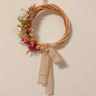 春らしい小花のハーフリース ドライフラワー (ドライフラワー)