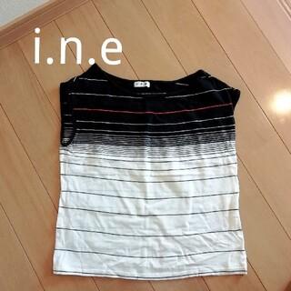 インエ(i.n.e)のi.n.e インエ ボーダー ノースリーブ Tシャツ ショート丈 綿 コットン(Tシャツ(半袖/袖なし))
