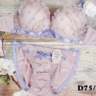 SE59★D75 M★美胸ブラ ショーツ 谷間メイク ドット&リボン ピンク(ブラ&ショーツセット)