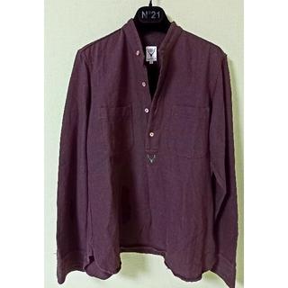 エスツーダブルエイト(S2W8)のSOUTH2WEST8 プルオーバー ノーカラー ブラウンシャツ 麻 サイズS(シャツ)