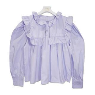 ザラ(ZARA)の【予約販売】フリル襟ブラウス パープル miro amurette同型(シャツ/ブラウス(長袖/七分))