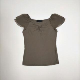 アンタイトル(UNTITLED)のアンタイトル 2 トップス ブラウン半袖 異素材ミックス シフォンスリーブ (カットソー(半袖/袖なし))