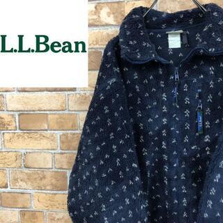 エルエルビーン(L.L.Bean)の♡エルエルビーン♡フリースジャケット 総柄 ボア アウトドア 紺(その他)