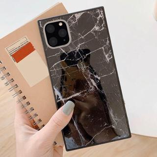 【ブラック】大理石柄 スクエア iPhoneケース(iPhoneケース)