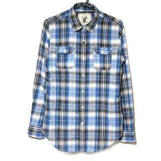 BACK NUMBER - バックナンバー チェックシャツ Lサイズ 青黒 長袖シャツ