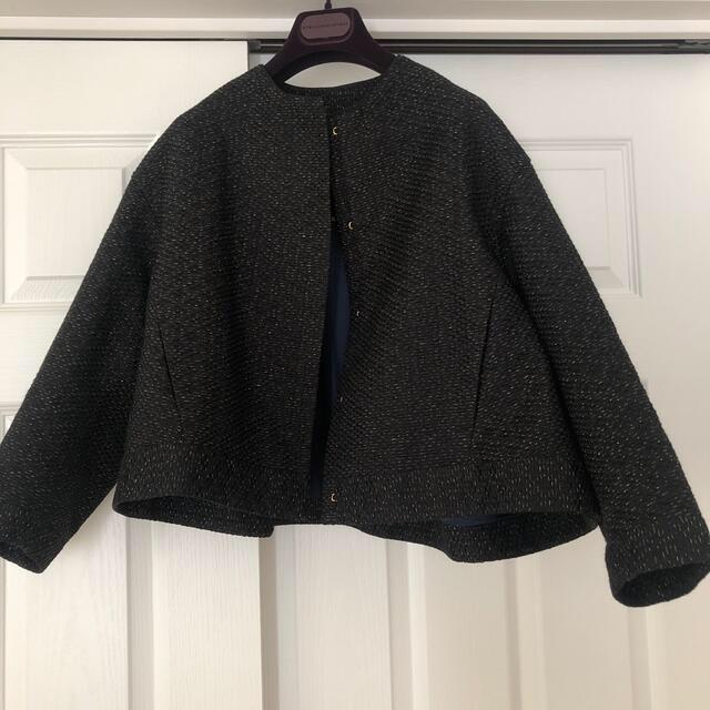 Drawer(ドゥロワー)のドゥロワー  ラメブラックジャケット美品drawerブラミンク レディースのジャケット/アウター(ノーカラージャケット)の商品写真