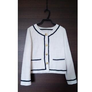 ノーカラージャケット(ホワイト)